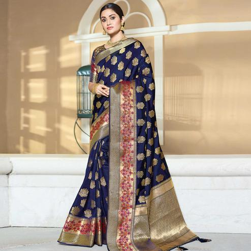 Ravishing Navy Blue Colored Festive Wear Woven Silk Saree