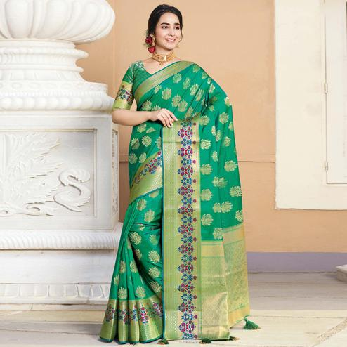 Staring Green Colored Festive Wear Woven Silk Saree
