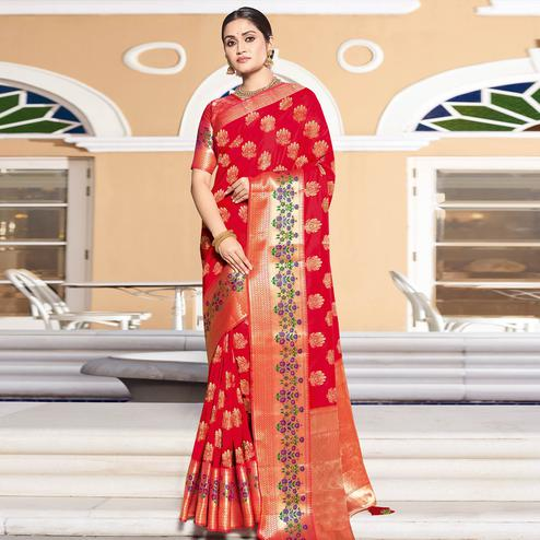 Dazzling Red Colored Festive Wear Woven Silk Saree