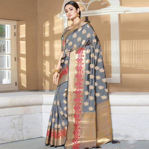 Intricate Grey Colored Festive Wear Woven Silk Saree