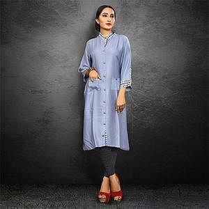 Gorgeous Gray Casual Wear Rayon Kurti