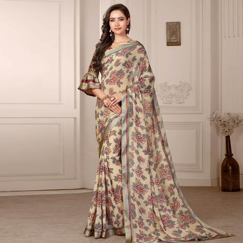 Amazing Beige Colored Partywear Printed Satin Saree
