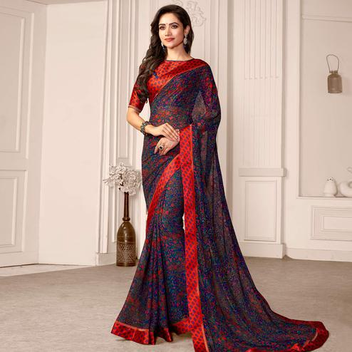 Blissful Blue Colored Partywear Printed Satin Saree