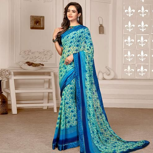 Lovely Cream -  Blue Colored Partywear Printed Satin Saree