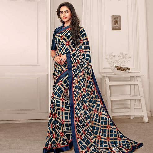 Majesty Beige - Teal Blue Colored Partywear Printed Satin Saree