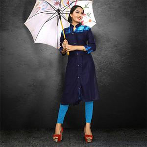 Attractive Navy Casual Wear Rayon Kurti