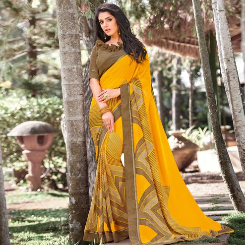 Arresting Yellow Colored Partywear Printed Georgette Saree