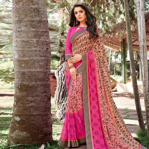 Desirable Peach - Pink Colored Partywear Printed Georgette Saree