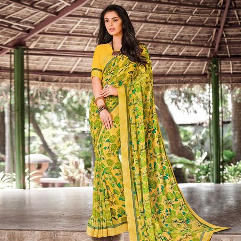 Sophisticated Yellow Colored Partywear Printed Georgette Saree