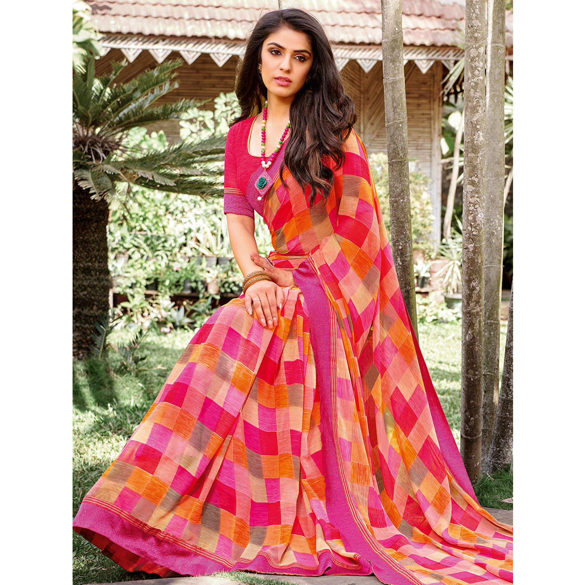 Radiant Peach - Multi Colored Partywear Printed Georgette Saree