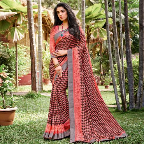 Opulent Peach - Black Colored Partywear Printed Georgette Saree
