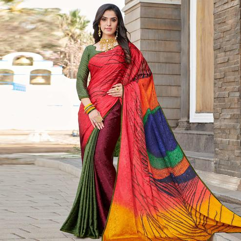 Energetic Dark Peach - Multi Colored Partywear Peacock Printed Silk Crepe Saree