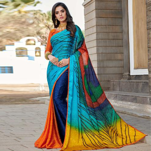 Glowing Sky Blue - Multi Colored Partywear Peacock Printed Silk Crepe Saree