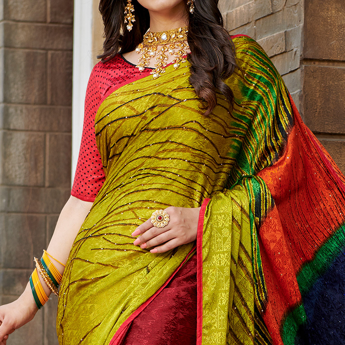 Exceptional Yellow - Multi Colored Partywear Peacock Printed Silk Crepe Saree