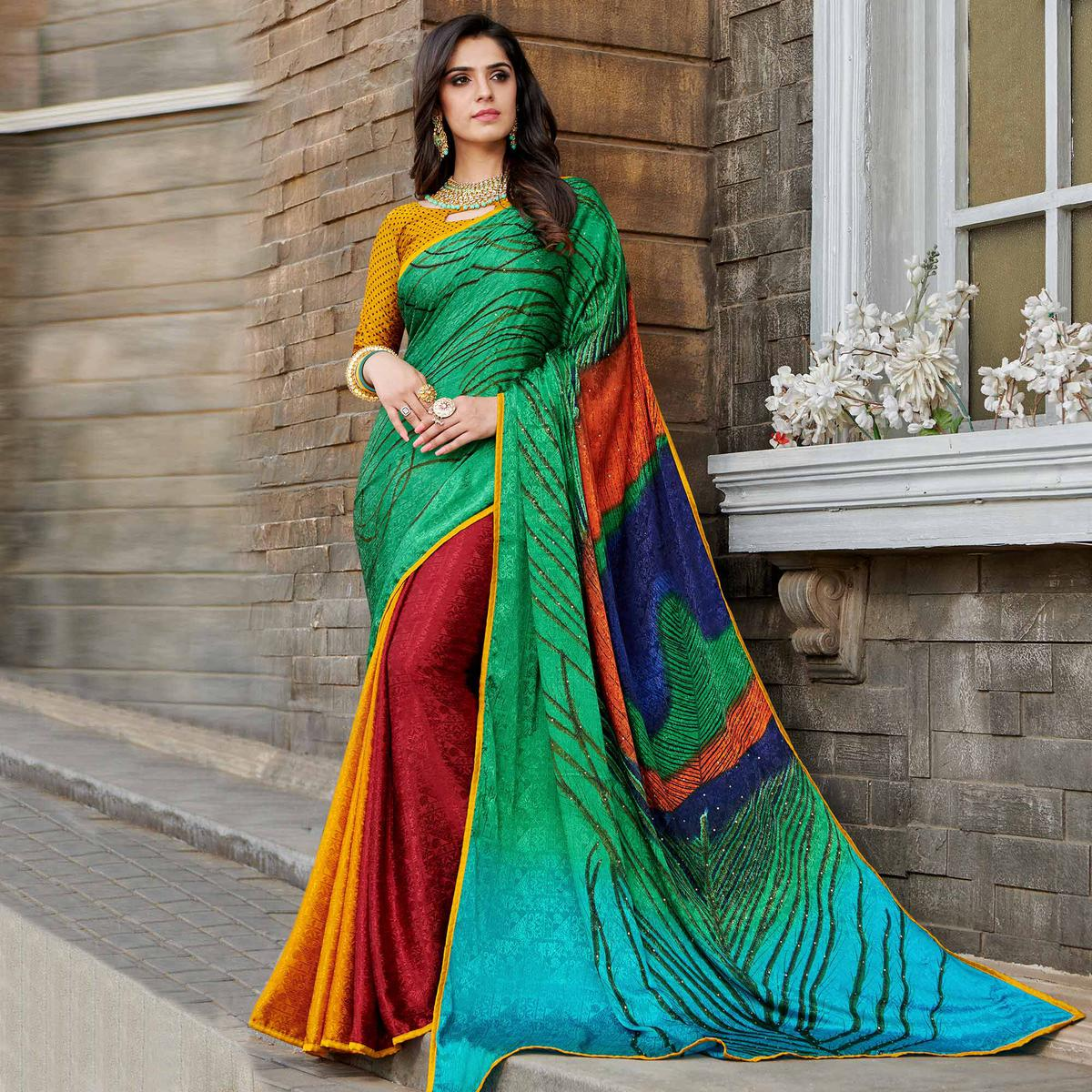 Gleaming Green - Multi Colored Partywear Peacock Printed Silk Crepe Saree