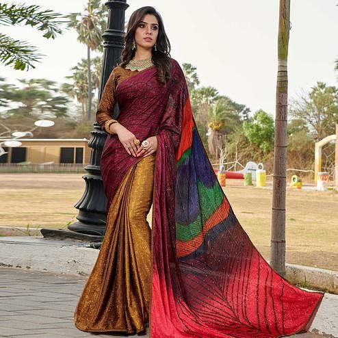 Unique Wine - Multi Colored Partywear Peacock Printed Silk Crepe Saree