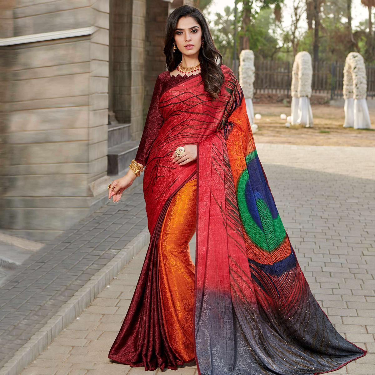 Demanding Red - Multi Colored Partywear Peacock Printed Silk Crepe Saree