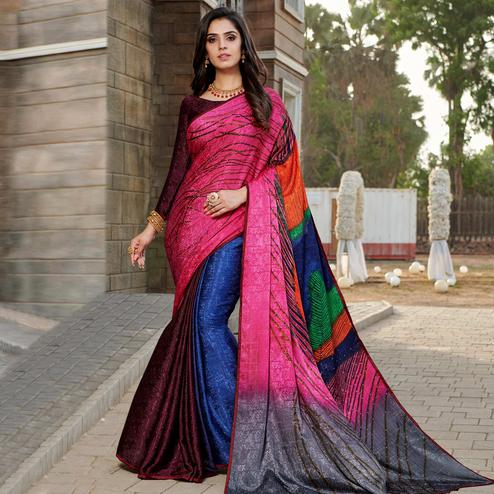 Refreshing Pink - Multi Colored Partywear Peacock Printed Silk Crepe Saree