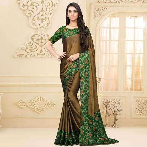 Flattering Brown Colored Partywear Printed Chiffon Saree