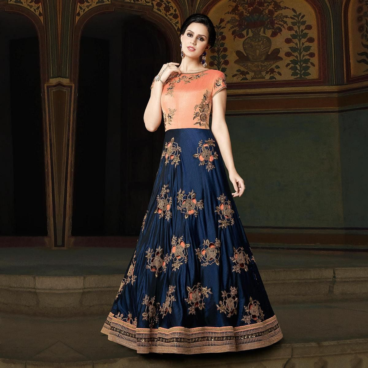 Lovely Peach-Blue Designer Embroidered Floor Length Art Silk Suit