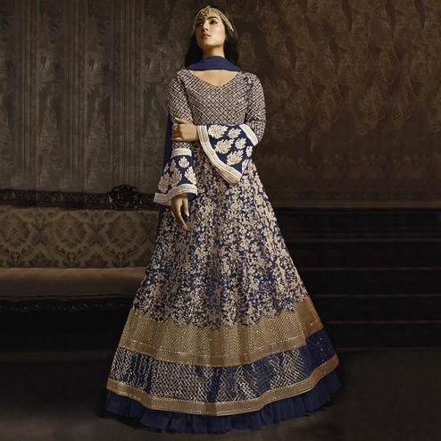 Adorable Navy Blue Colored Partywear Embroidered Bell Sleeve Net Anarkali Suit