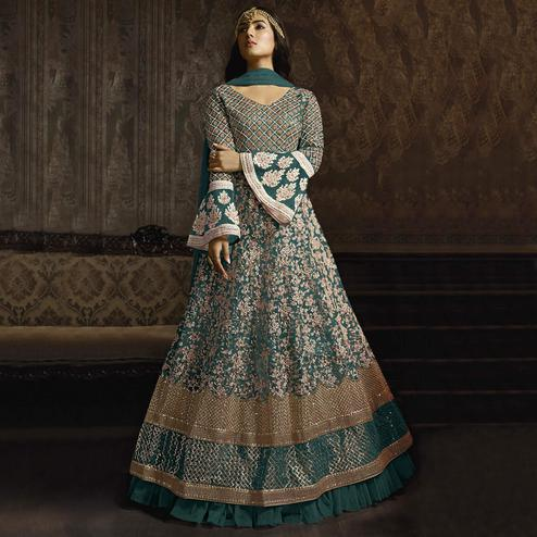 Attractive Green Colored Partywear Embroidered Bell Sleeve Net Anarkali Suit