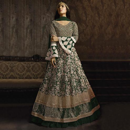 Graceful Mehendi Green Colored Partywear Embroidered Bell Sleeve Net Anarkali Suit
