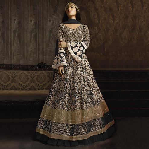 Blooming Black Colored Partywear Embroidered Bell Sleeve Net Anarkali Suit