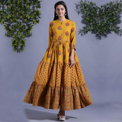 Aariya Designs - Mustard Yellow Colored Casual Wear Floral Printed Cotton Long Kurti