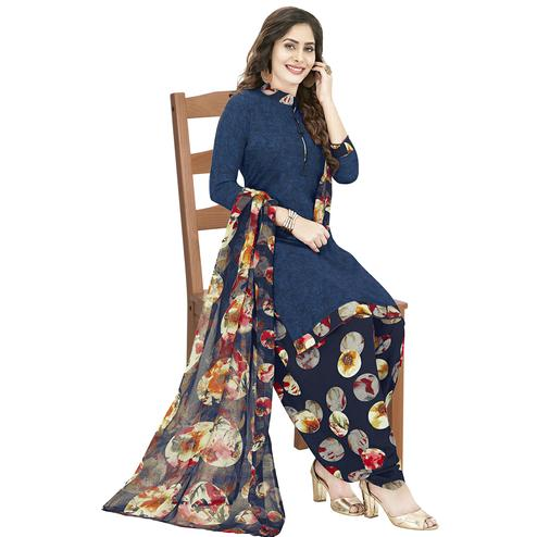 Trendy Navy Blue Colored Casual Wear Printed Crepe Patiala Dress Material