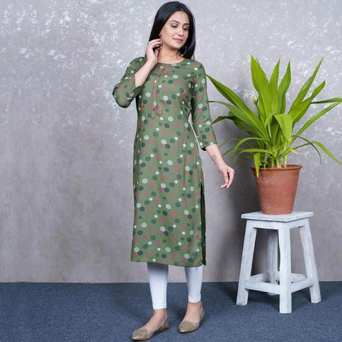 Aariya Designs - Olive Green Colored Casual Wear Geometric Printed Rayon Kurti