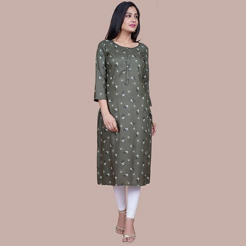Aariya Designs - Light Olive Green Colored Casual Wear Floral Printed Rayon Kurti