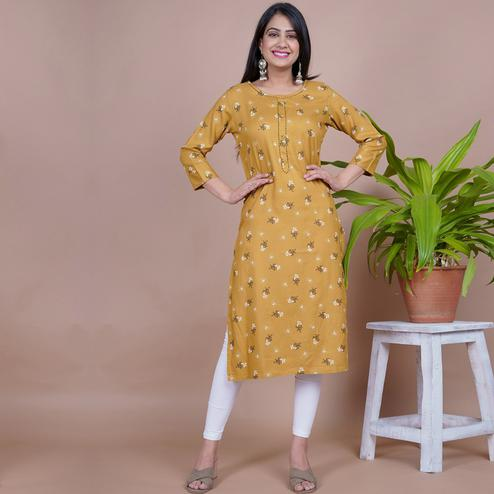 Aariya Designs - Light Brown Colored Casual Wear Floral Printed Rayon Kurti