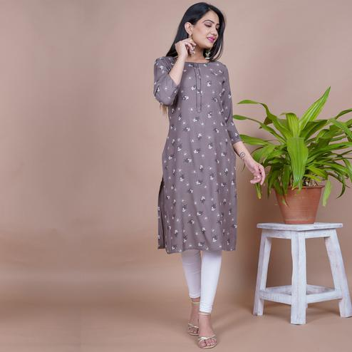 Aariya Designs - Grey Colored Casual Wear Floral Printed Rayon Kurti