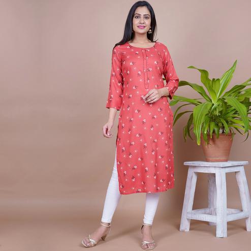Aariya Designs - Red Colored Casual Wear Floral Printed Rayon Kurti