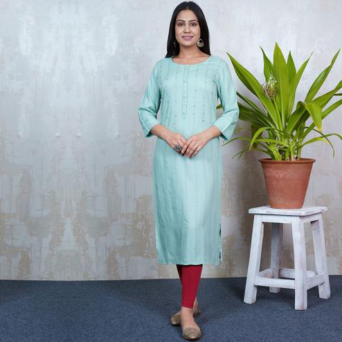 Aariya Designs - Mint Green Colored Casual Wear Geometric Printed Rayon Kurti