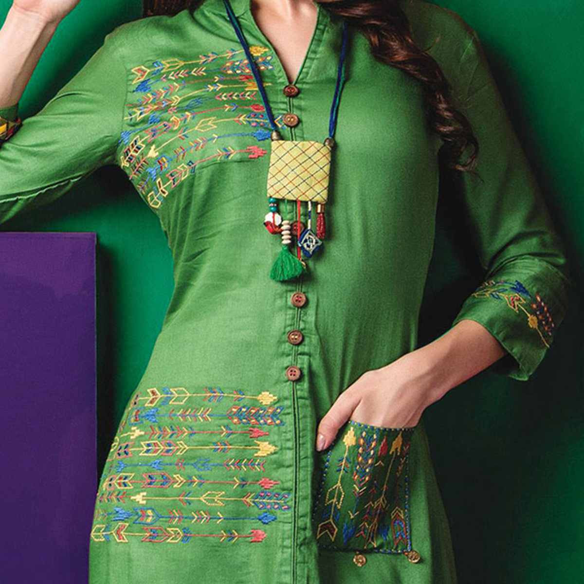 Beautiful Green Designer Embroidered Cotton Kurti