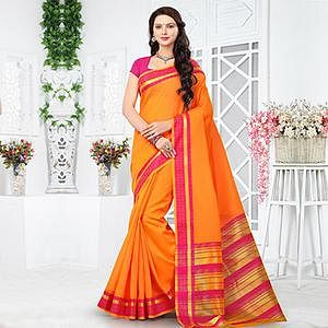 Orange - Pink Chanderi Cotton Woven Saree