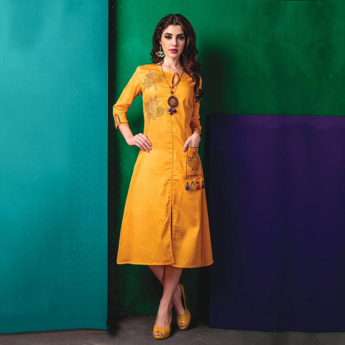 Elegant Yellow Designer Embroidered Cotton Kurti