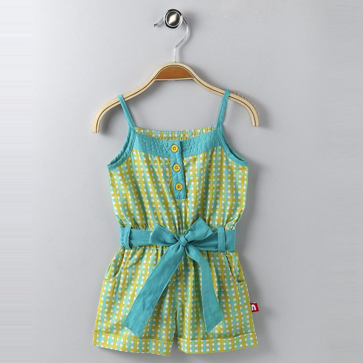 Nino Bambino - Green-blue Colored Casual Cotton Jumpsuit For Girls