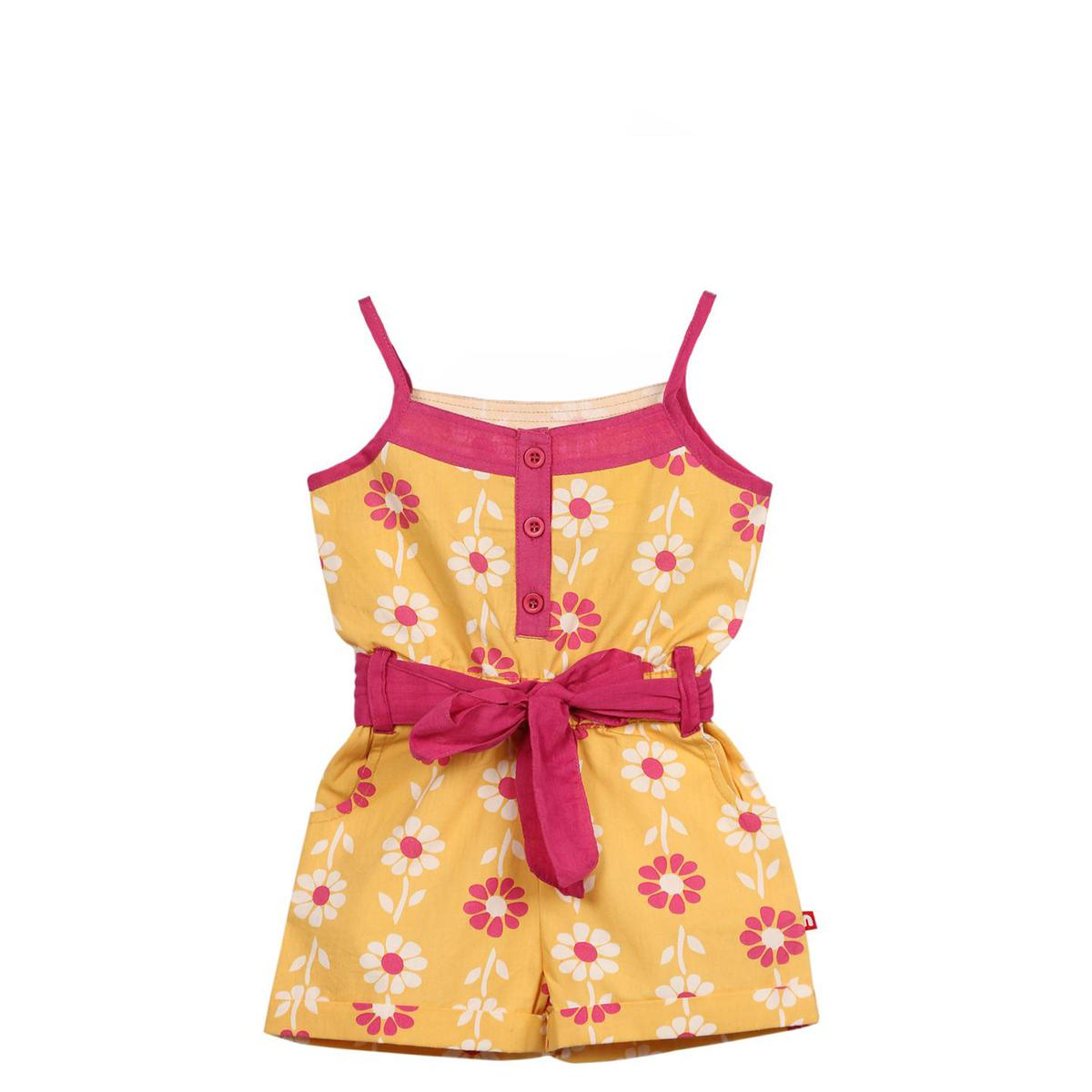 Nino Bambino - Yellow Colored Casual Cotton Jumpsuit For Girls