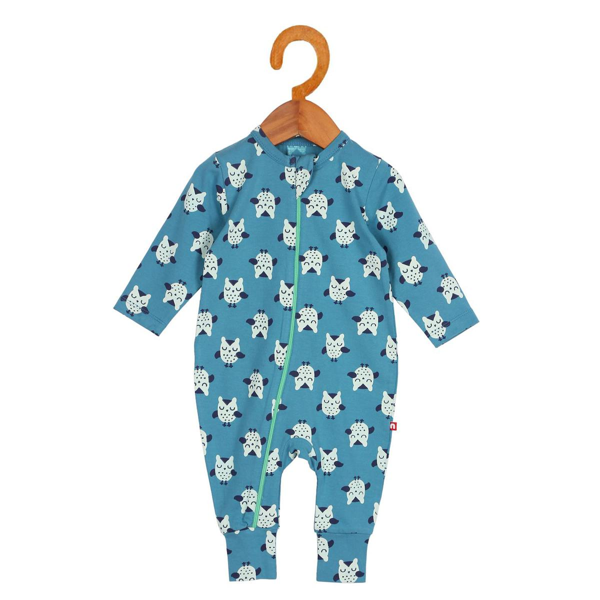 Nino Bambino - Blue Colored Casual Cotton Large Sleeve Zip Romper