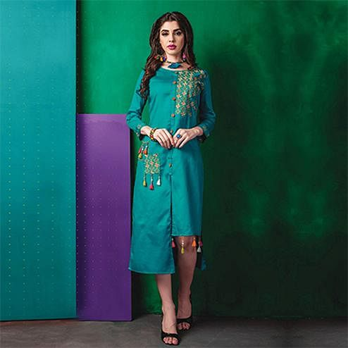 Stylish Turquoise Designer Embroidered Cotton Kurti