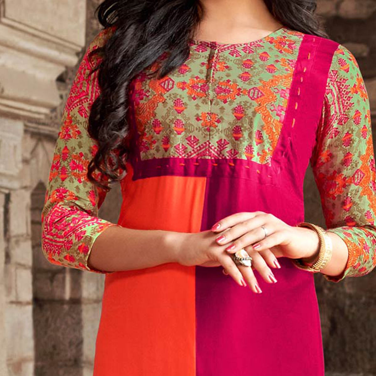 Stylish Pink-Orange Designer Printed Rayon Kurti
