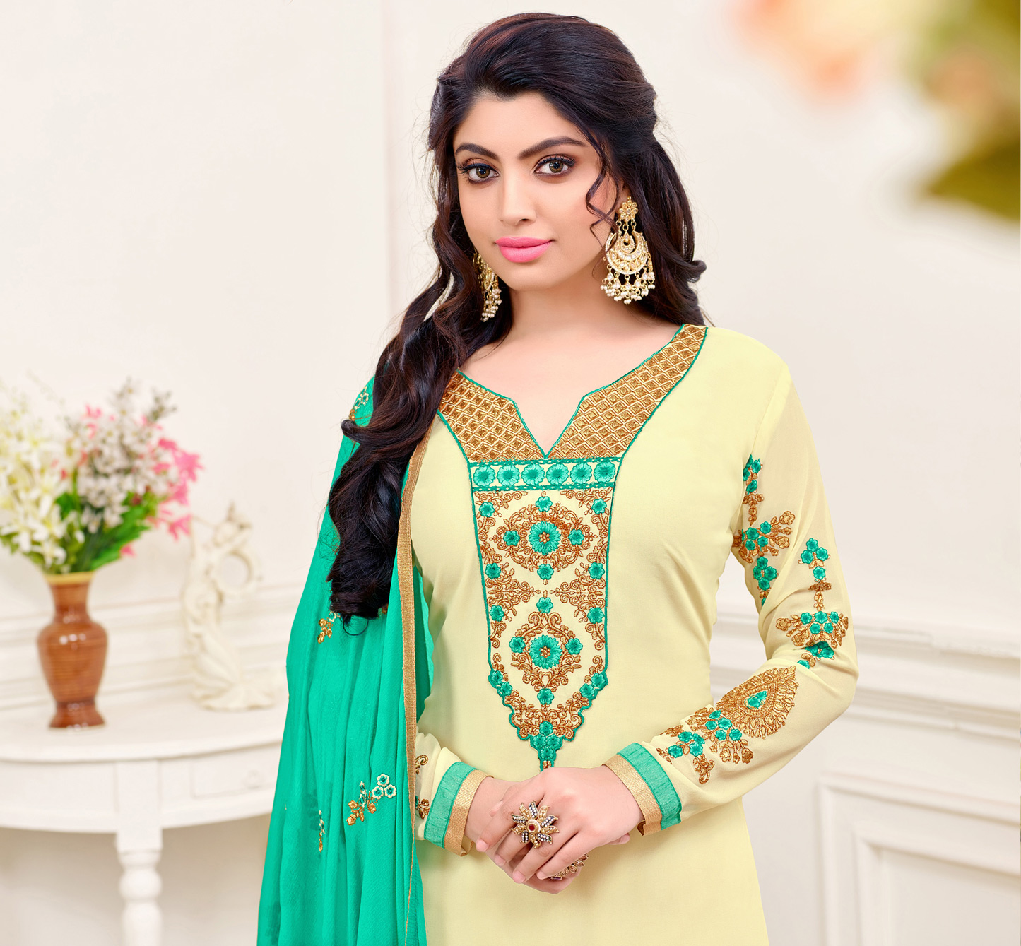 Cream - Green Georgette Embroidered Suit