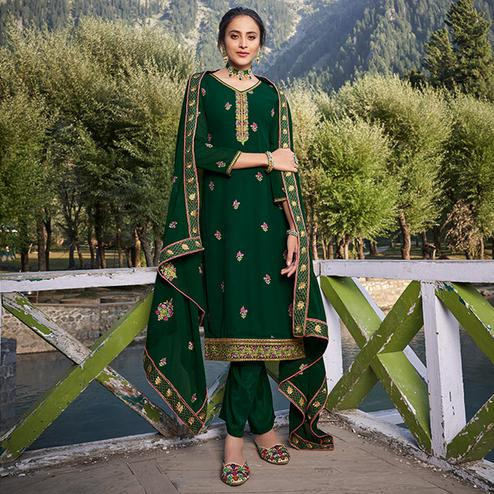 Appealing Dark Green Colored Party Wear Floral Embroidered Georgette Suit