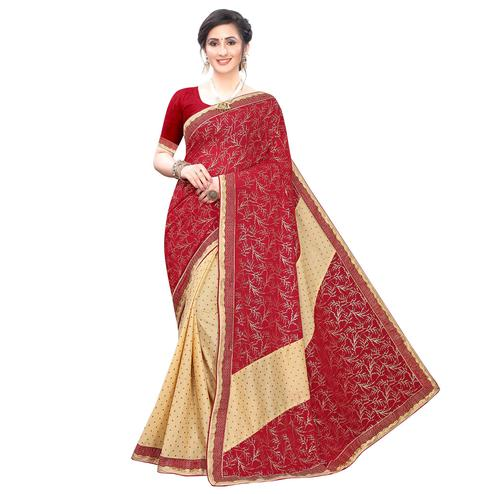 Glorious Red Colored Party Wear Foil Printed Lycra Blend Saree