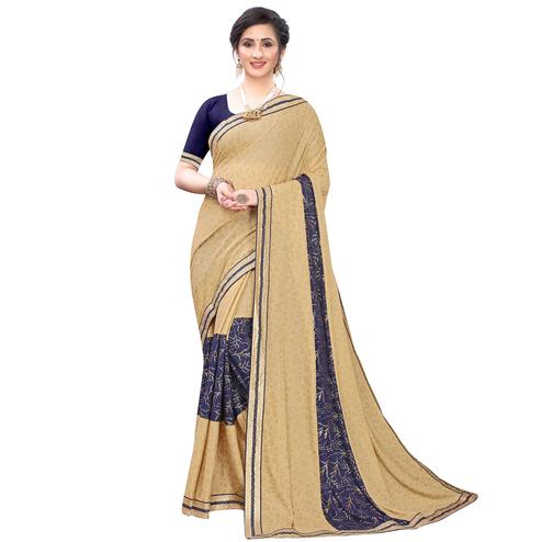 Beautiful Beige-Blue Colored Party Wear Foil Printed Lycra Blend Saree