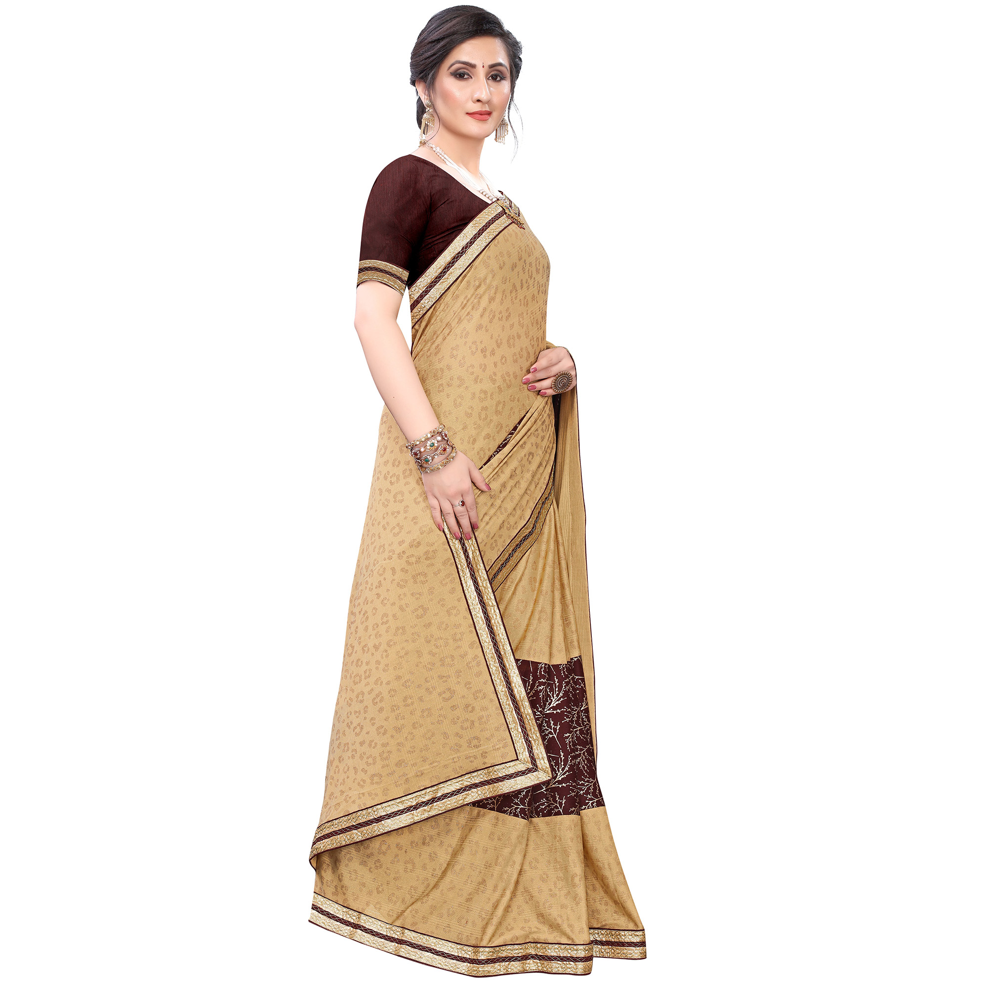 Blooming Beige-Coffee Colored Party Wear Foil Printed Lycra Blend Saree