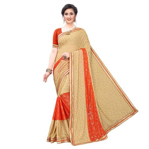 Charming Beige-Orange Colored Party Wear Foil Printed Lycra Blend Saree